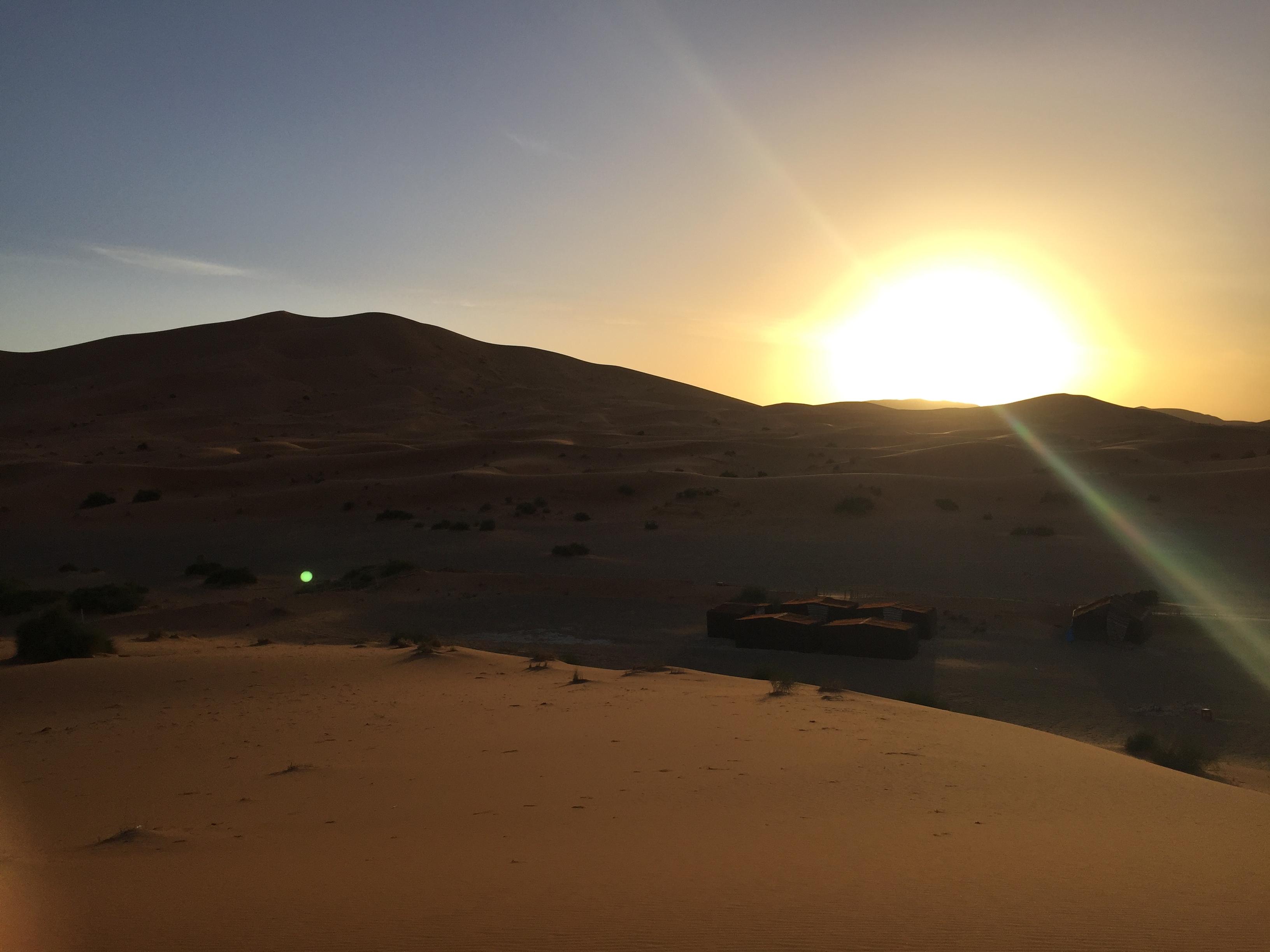 sunrise in sahara desert