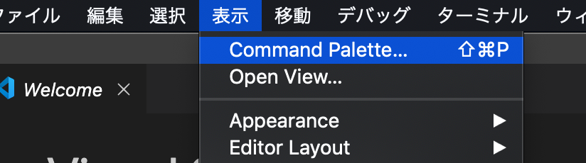 2.viewを選択 3.command palette を選択 4.configure display languageを選択
